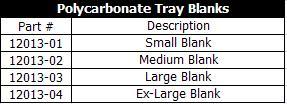 Innovative Concepts Polycarbonate Trays Blanks
